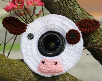 Cow Lens Buddy with Squeaker - Made to Order - Photography DSLR Lens Accessory