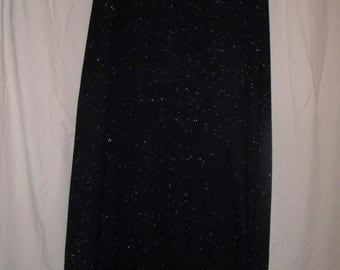 SAle Maxi Skirt Vintage Black with silver glitter thread