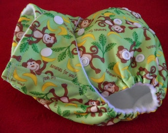 SassyCloth one size pocket diaper with monkey PUL print. Ready to ship.