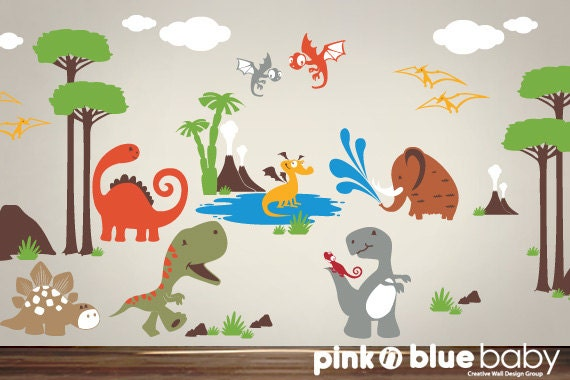 Dinosaur Wall Decals Playroom Wall Decals Kids Nursery - Dinosaur wall decals nursery