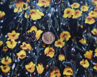 """2 Yards 4"""" 45"""" Wide  Flowers With Butterflies 100% Cotton Fabric"""