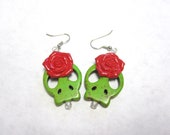 Skull Earrings Day of the Dead Jewelry Rockabilly Green & Red