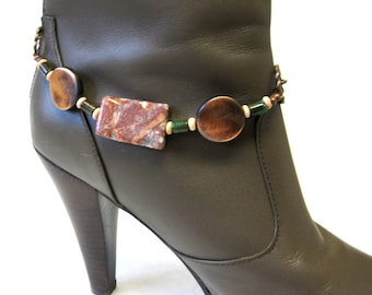 Western Bracelet Boot Bling Chunky Copper Stone Brown