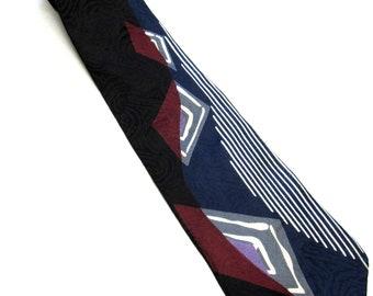 Black Red Blue White Red Necktie Don Loper Silk Neck Tie