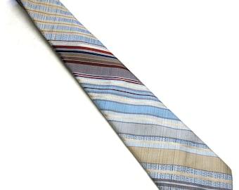 """Vintage Necktie Maas Brothers 4"""" Wide Maroon Red Blue Gold Tan Tie"""