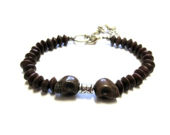 Day Of The Dead Bracelet Sugar Skull Strand Coffee Brown Silver Wood Mens Jewelry