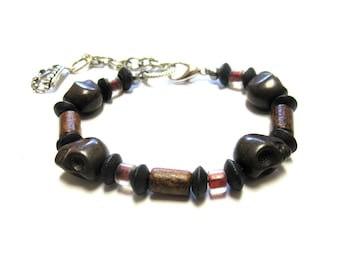 Sugar Skull Bracelet Day of the Dead Strand Brown Wood Silver Mens