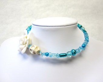 Turquoise Blue White Rose Day of the Dead Necklace Sugar Skull Choker Memory Wire