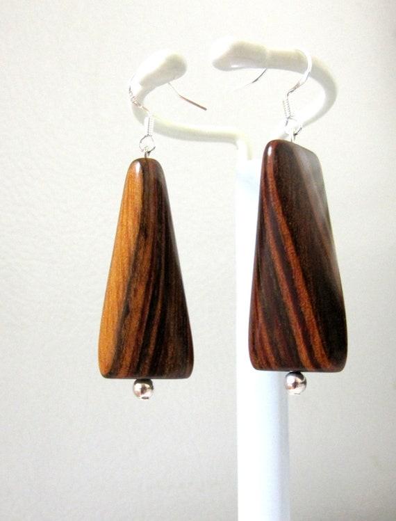 Wood Earrings Natural Geometric Modern