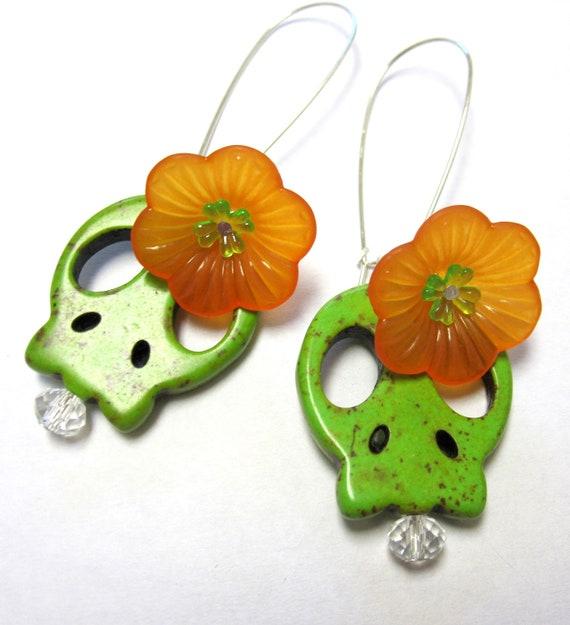Sugar Skull Earrings Day Of The Dead Hoop Flower Orange Green
