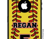 OTTERBOX DEFENDER iPhone 6 5 5S 5C 4/4S iPod Touch 5G Custom Softball Mom Dad Yellow Ball Stitching Name Number  - Monogram Personalized ID
