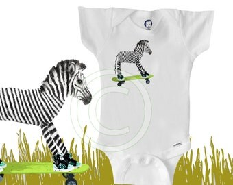 Organic zebra onesie, skateboard, funny, cool, hipster baby