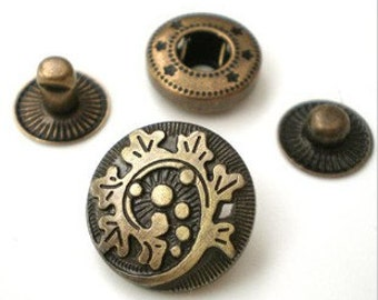 10sets 15mm Beautiful high-quality antique bronze Thorns flower Snap button(requries 633 tool)