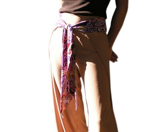 Wrap Around Pants Retro Gypsy Tie On Swim Cover Up One of a Kind Item Gold Tie On Pants