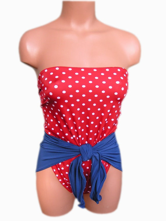 XS Bathing Suit  Pin Up Girl Americana Wrap Around Swimsuit Petite Swimwear Teen Bathing Suit Red White and Blue Patriotic Girls Swimsuit