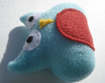 Owl Catnip Toy - Light Blue and Red