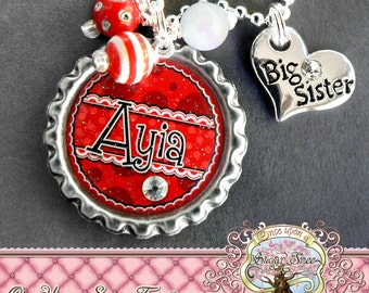 Big SISTER Necklace, Personalized Name BottleCap Necklace,Big Sister Charm, Pregnancy Announcement, New Sister,Charm Necklace, Little Sister