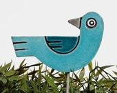 bird garden art - plant stake - garden marker - garden decor - bird ornament - ceramic bird - turquoise & teal
