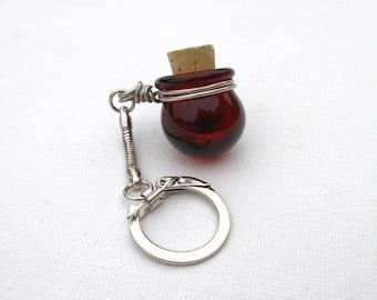 Tiny Glass Keychain Jar - Ruby Red