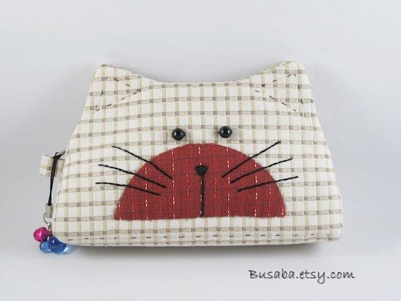 Handmade coin purse - Kitty Cat- Ready to Ship