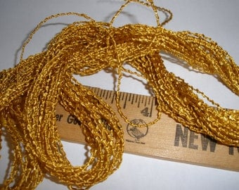 "Vintage Shiny Textured Yellow-Gold Cord Trim- 15 yards 1/16"" Jewelry Making Gift Tie embellishment scrapbook weaving packaging"