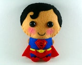 Superman felt plush doll in a kawaii style - use as pin, keychain, magnet or Christmas ornament ( your choice )