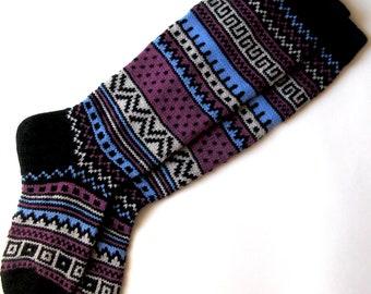 Black white lilac blue CUSTOM MADE Scandinavian pattern rustic fall autumn winter knit knee-high wool socks present gift