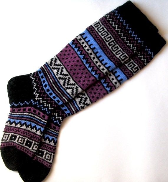 Black white lilac blue CUSTOM MADE Scandinavian pattern rustic fall autumn winter knit knee-high wool socks present gift