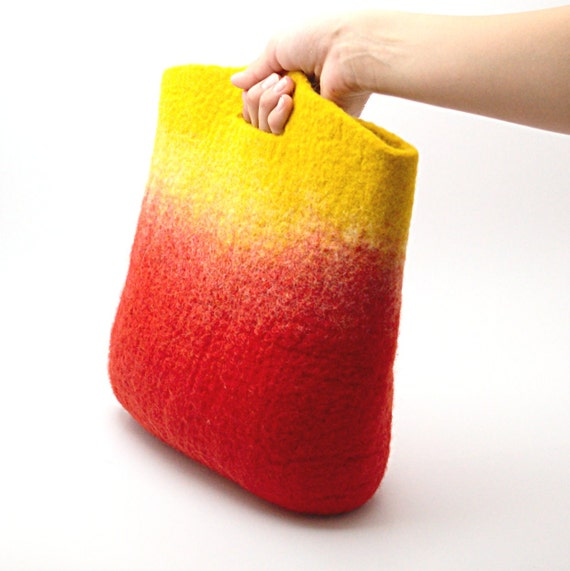 Felted handbag On fire - handmade wool felt purse - red yellow - bright Autumn bag