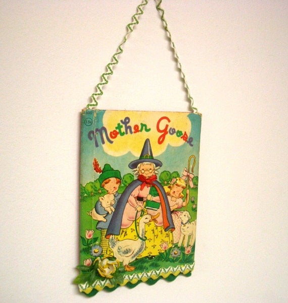 Vintage Children's Book Cover Wall Hanging - Mother Goose