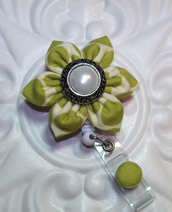 Id Badge   Retractable Badge ID Holder     Id  Badge Reel  Kanzashi Flower Green Dot