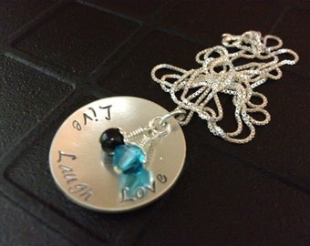 Live, Laugh, Love Hand Stamped Necklace with Swarovski Crystal and Swarovski Pearl