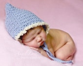 Periwinkle Pixie Elf Hat for Newborn Baby Photo Prop in Pure Alpaca