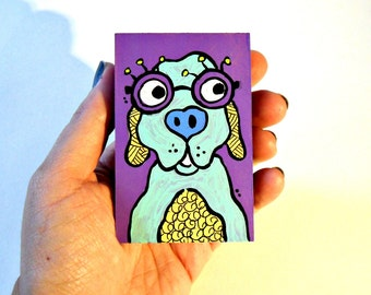 Dog with Glasses colorful wood art blocks