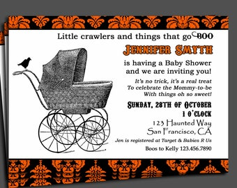 Halloween Baby Shower Invitation Printable or Printed with FREE SHIPPING- ANY Wording - Vintage Stroller Collection