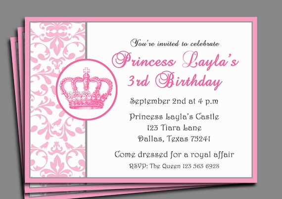 princess party invitation printable or printed with free, Invitation templates