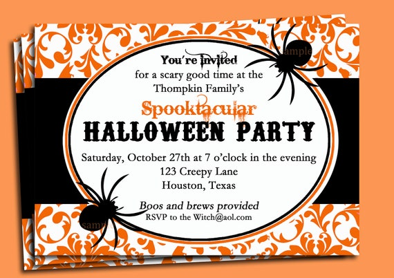 halloween invitation printable damask spider spooktacular by that