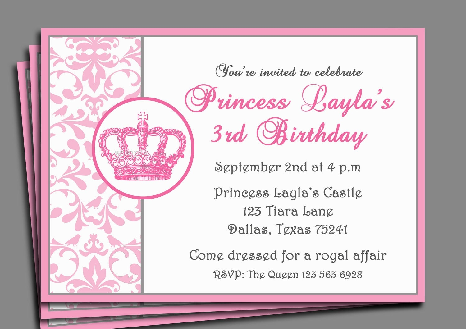 princess party invitation printable or printed 128270zoom