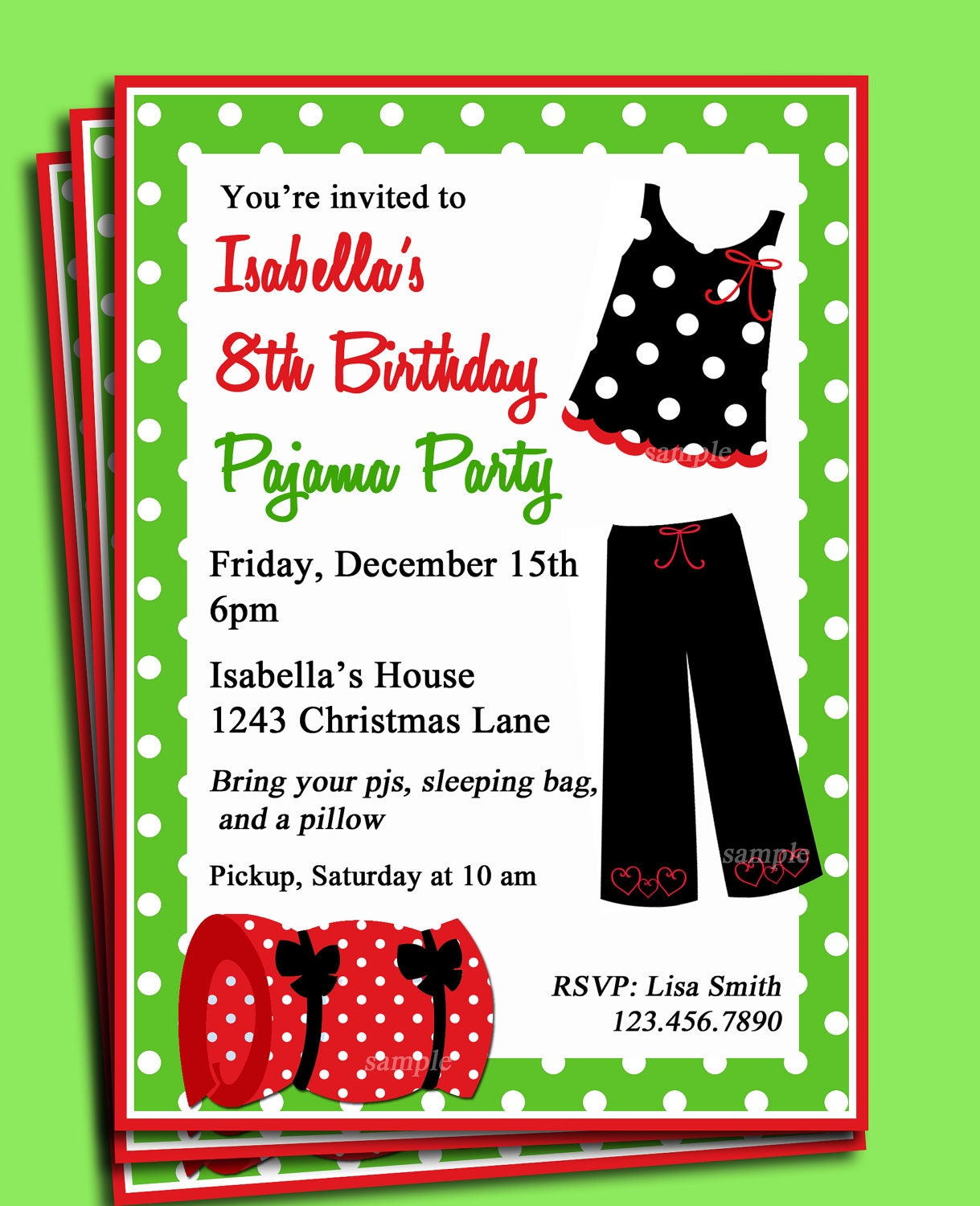 Pajama Party Printable Invitation Christmas Birthday