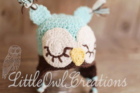 Sleepy Ow Crochetl Beanie Newborn up to 4T sizes  You Pick Colors MADE TO ORDER