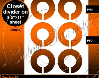 INSTANT DOWNLOAD - Closet Divider TEMPLATE 88 Printable Accessories Atc Aceo Sticker Card Hangtags pyo diy