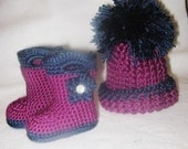 Handmade crocheted hat  and boots set Sizes Newborn Baby ,toddler (Custom Color)