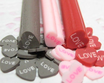 Cherry Chocolate and Strawberry polymer clay canes 3pcs valentines love heart for deco den supplies kawaii supplies red brown pink