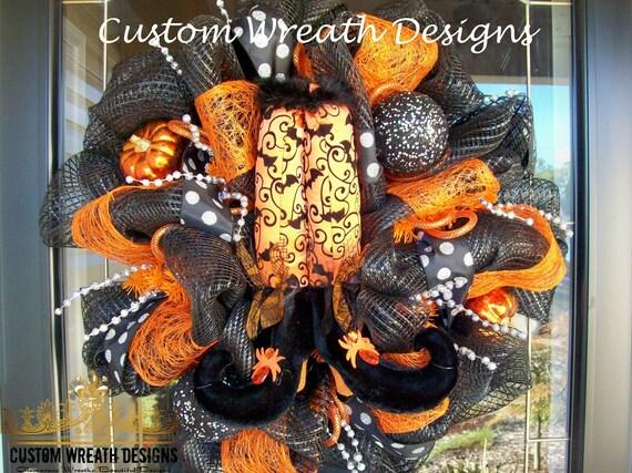 WItch Legs Halloween Black and Orange Wreath