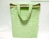 Library Bag - White Polka Dots in Fresh Green