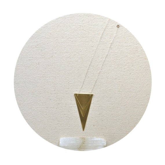 The Spear of Destiny- Hand Cut Layered Brass Triangles on Sterling Chain