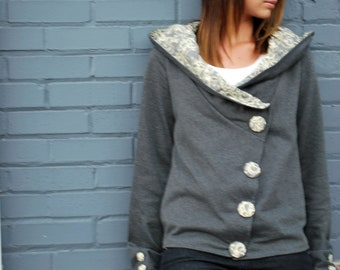 Women's Button Down Jacket - Hadley(Grey)