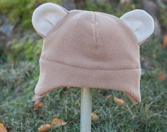 Children's Fleece Bear hat with earflaps