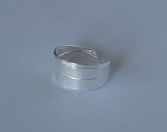 Olive leaf handmade ring from silver plated bronze