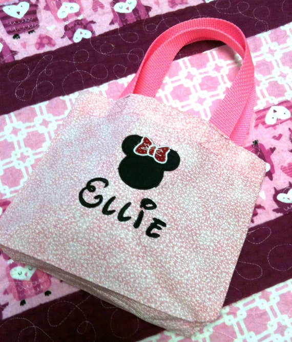 Little Girl's Minnie Mouse Purse Tote Bag FREE Personalized Embroidered Name